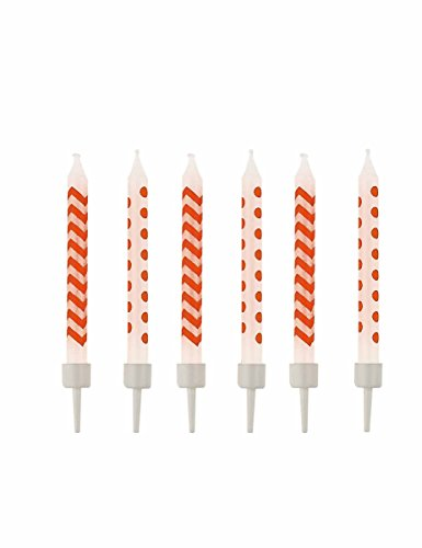 amscan - 9900261 - 10 Birthday Candles Peel Dots et Chevron - Orange