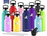 KollyKolla Bottiglia Termica per Acqua in Acciaio Inox, 500ml Senza BPA, Borraccia Sportiva Sottovuoto a Doppia Parete, Borracce Termiche per Bambini, Scuola, Ufficio, Sport, Palestra, Navy Blu