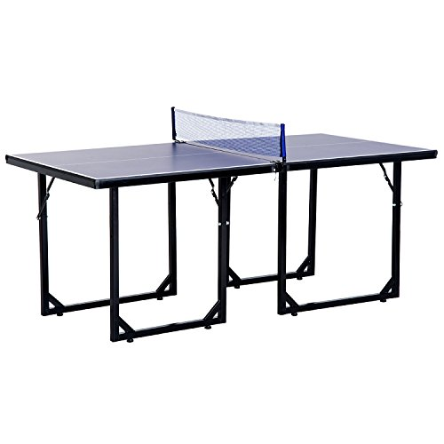 HOMCOM 6FT Mini Tennis Table Folding Portable Ping Pong Table with Net Game