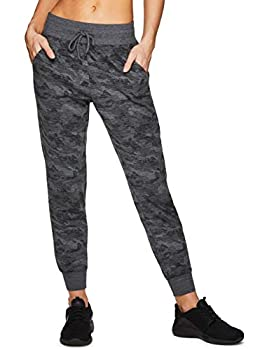 RBX Active Women s Super Soft French Terry Lightweight Full Length Camo Print Jogger Sweatpants with Pockets F20 Camo- Black XL