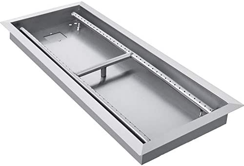 VEVOR Fire Pit Pan 49x16 Inch Stainless Steel Rectangular Fire Pit Pan and Burner Built in Fire product image