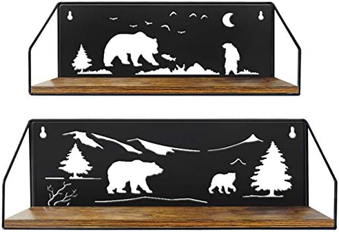 Giftgarden Floating Shelves for Wall with Unique Adorable Bears Cutouts Rustic Wood Wall Shelf product image