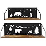 Giftgarden Floating Shelves for Wall with Unique Adorable Bears Cutouts, Rustic Wooden Iron Wall Shelf Bear Decor for Bathroom Cabin Lodge Bedroom Kitchen Living Room Nursery, Black, Set of 2