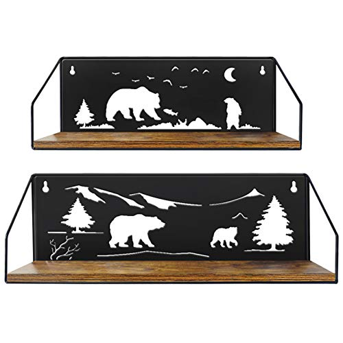 Giftgarden Floating Shelves for Wall with Unique Adorable Bears Cutouts Rustic Wooden Iron Wall Shelf Bear Decor for Bathroom Cabin Lodge Bedroom Kitchen Living Room Nursery Black Set of 2