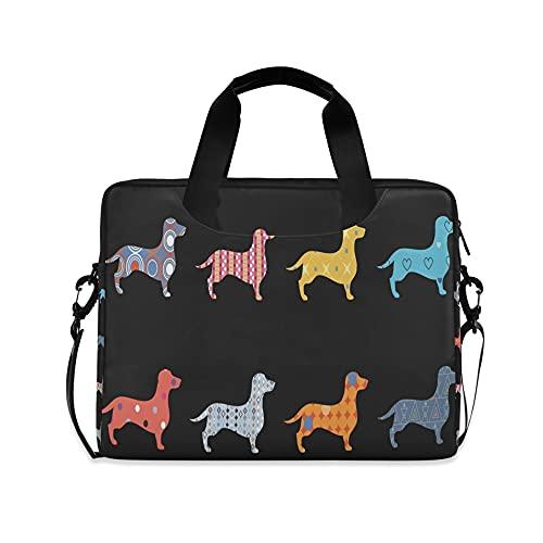 Cachorro Niños 14 pulgadas Portátil Bolsas Color Negro DogKids 10 Tablet Funda Bolsos para la Escuela Secundaria Hombres 15.6 Ordenadores Bolsa Maletín