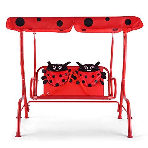 Goplus Dondolo da Giardino per Bambini Due Posti, Altalena per Bambini Gioco da Esterno Dondolo 112x108x75cm (Rosso)