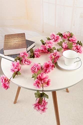 Homcomodar - Guirnalda de flores, F-cherry Blossom Vines-rosa rojo, 2 unidades