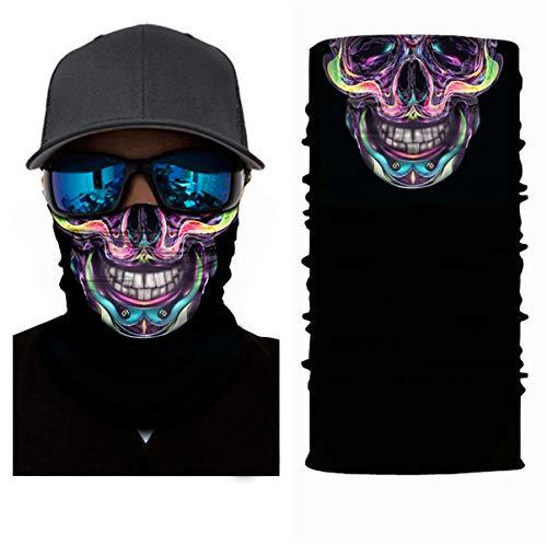 3D Balaclava Moto Pasamontañas Calavera Multifuncional Bufanda Prueba de Viento Microfibra Elástico Pañuelos Cabeza Bandana Esquí Ciclismo Bici Máscara Facial Protección UV