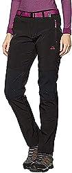 Tofern Damen Mädchen Softshellhose Activate Wanderhose Outdoorhose Multiaktivitäten ,Winter-schwarz,Euro M