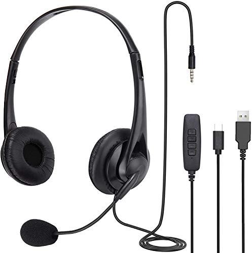 SKYECO 3 in 1 USB/TYPE-C/Cuffie di controllo da 3,5 mm, con funzione di riduzione del rumore del microfono, cuffie Skype, adatte per PC/laptop/Mac iPad/telefono Android