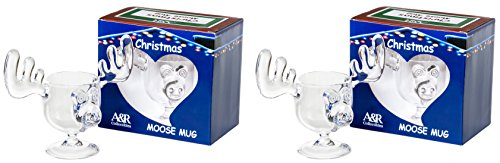 Christmas Eggnog Moose Mugs - Gift Boxed Set of 2 - Safer Than Glass