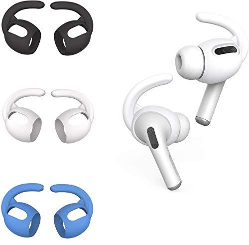 CANOPUS 3 Paar Ohrspitzen (Weiß, Schwarz, Blau), Ohrpolster-Kopfhörer, Kompatibel mit AirPods Pro, Ohrhaken, Anti-Rutsc Ohrhörer-Abdeckungen mit Silikon Aufbewahrungsbeutel