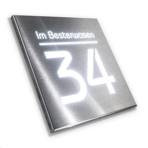 Metzler Hausnummer Edelstahl mit LED-Beleuchtung - Gravur Beschriftung Nummer Straßenname - Aufputz-Montage - 20 x 20 cm