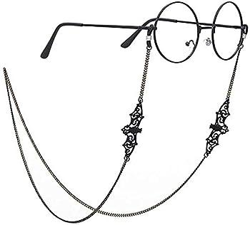 PARDLY Black Bat Eyeglasses Chain for Women Men glasses Holder Strap Cord for Sunglasses Eyewear Medium