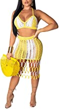 Salimdy Women See Through 2 Piece Outfits Hollow Out Knitted Halter Bandeau Top Mini Skirt Bikini Cover up Yellow XL