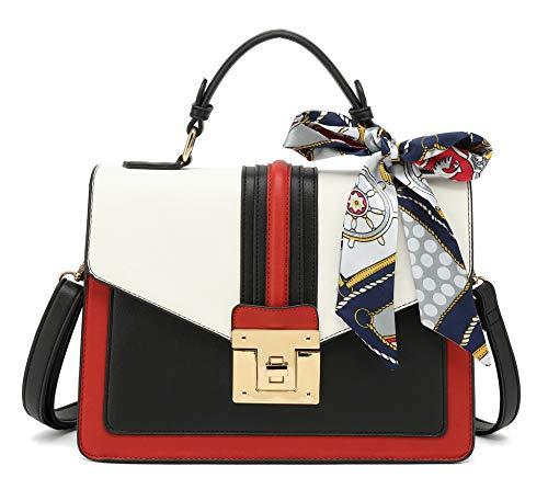 Scarleton Medium Top Handle Satchel Handbag for Women, Vegan Leather Crossbody Bag, Off White, H206502