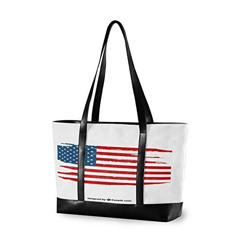 Laptop Tote Bag with American Flag Elements Fits 15.6-17 Inch Laptop, Women's Lightweight Tote Bag Shoulder Bag Messenger Bag