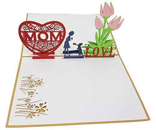 Tarjeta de felicitación I Love Mom 3-D Pop-Up, tarjeta de felicitación «Ich Liebe meine Mama», hecha a mano para el día de la madre, cumpleaños, etc.