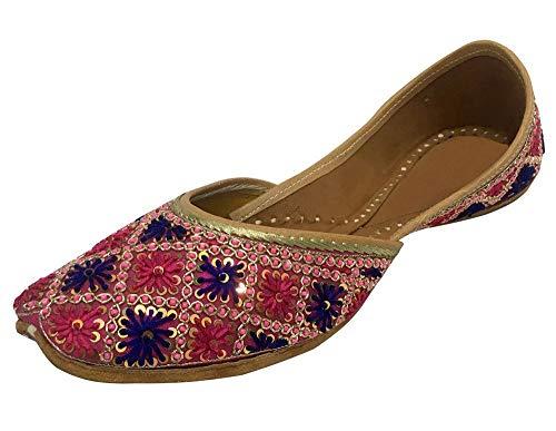 Step n Style Damen Mehrfarbige indische Khussa flache Pumps Phulkari mit Payel, (mehrfarbig), 38 EU