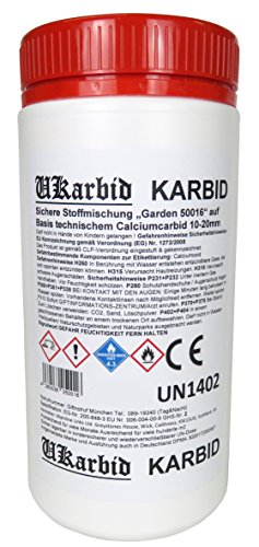 UKarbid 5,0 Kg Karbid als Granulat mit 97{00db801696b417de779185d7b9cb35114cfe73a2f56ae383ffc15ce8e1ca8cd6} Feste Steine, auf Basis europäischen technischem Calciumcabid mit 10-20 mm