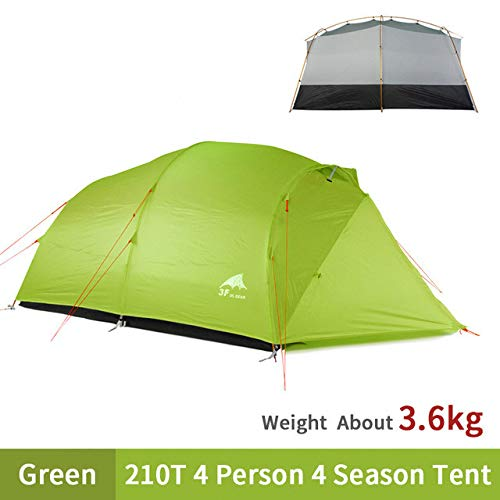 Mdsfe 3F UL GEAR QingKong 4 Person Ultralight Tent 15D/210T Large Space 3/4 Season Outdoor Hiking Tents Camping Hunting Tent-210T-4Season-Green,A2