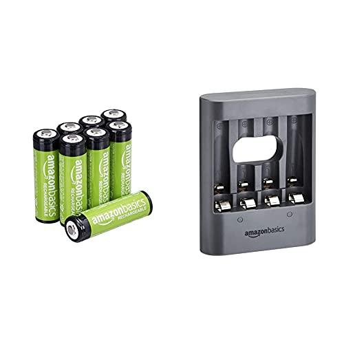 AmazonBasics Pilas AA Recargables, precargadas, Paquete de 8 (el Aspecto Puede Variar) + Cargador de Pilas USB, Color Negro