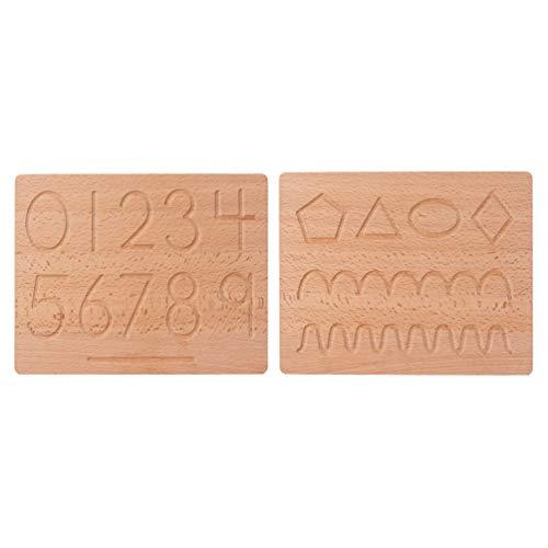 Toddmomy Tabla de Seguimiento de Números del Alfabeto de Madera Letras Impresas Juguetes de Aprendizaje para Niños Pequeños en Edad Preescolar Ayuda para Dibujar Tabla de Enseñanza Número