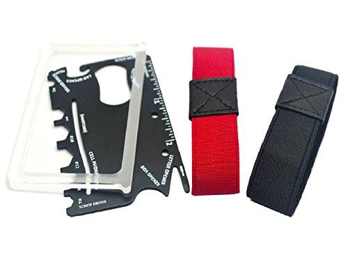 Premium MakakaOnTheRun Carbon Kreditkartenetui Upgrade: Münzfach, 2 extra Bänder und Multi-Tool Karte