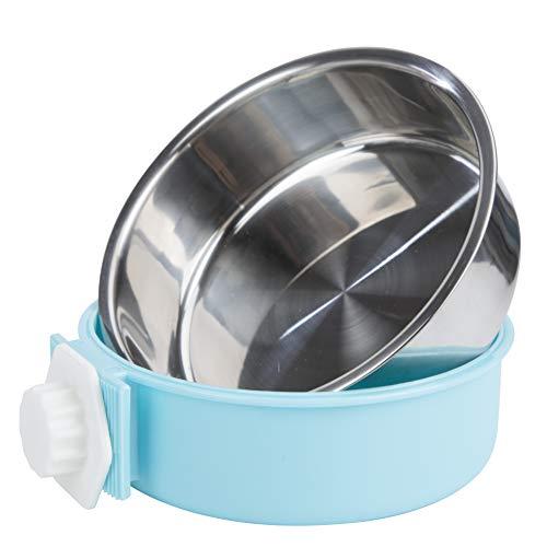 Tazón Colgante Mascotas 2 en 1 Comedero de Comida Acero Inoxidable y Plastico Tazón para Perro Gato Conejo Hámster Jaula