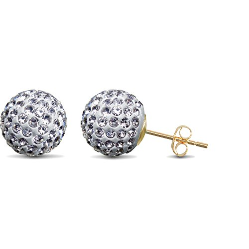 Jewelco London Ladies 9ct Yellow Gold White Round Crystal Disco Ball Stud Earrings, 10mm