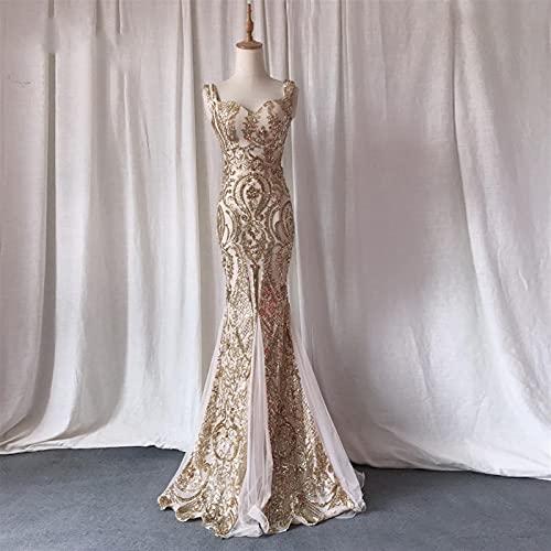 chushi Vestidos de Mujer Vestidos de Noche de Oro Sirena Larga Prom Vestido Glitter Lentejuelas Vestido de Fiesta Sweetheart Dorado Vestido Formal Vestido Sparkle Mujer Vestido de Novia Zzib