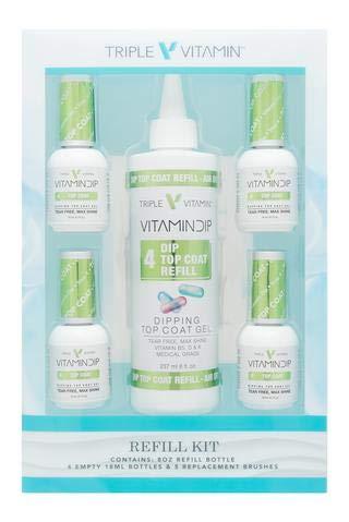 New Triple Vitamin Dip Liquid Refill 8 oz + 4 Empty 0.6 oz Bottles - Top Coat