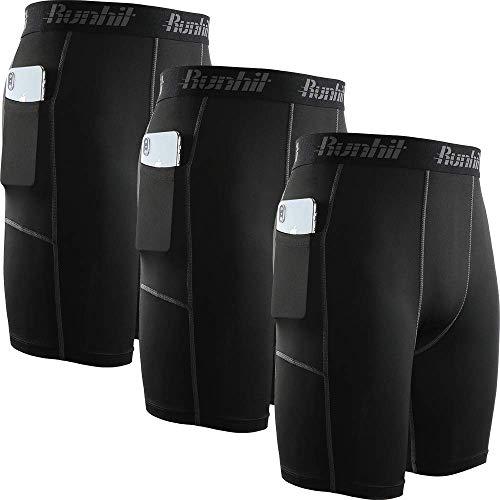 Runhit - Yoga-Shorts für Herren in 3er-pack: Schwarz / Grau, Größe 3XL