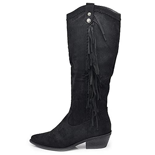 Texani Cowboy Western - Botas de mujer con flecos Camperos étnicos 625, Ml60 Negro, 37 EU