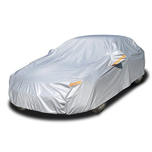 Kayme 6 Layers Car Cover Waterproof All Weather for Automobiles, Outdoor Full Cover Rain Sun UV Protection with Zipper Cotton, Universal Fit for Sedan (186'-193')