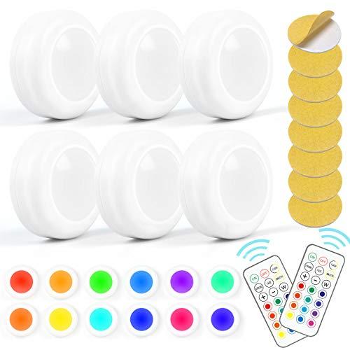 6er Set LED Nachtlicht mit Fernbedienung Schrankbeleuchtung RGBW Lampe Push Light Batteriebetrieben Touchfunktion und Dimmbar,Schrank Lichter für Kleiderschränke Schlafzimmer Küche Kabinett