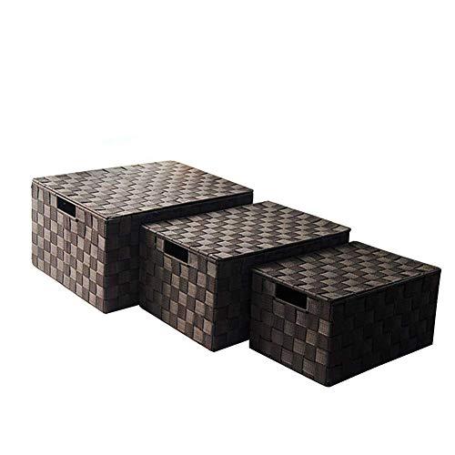 Caja de Almacenamiento Tejido de 3 Piezas Cesta de Almacenamiento a Prueba de Humedad con Tapa, para Sala de Estar, Oficina, baño, Dormitorio dfgdfgdgf TINGG