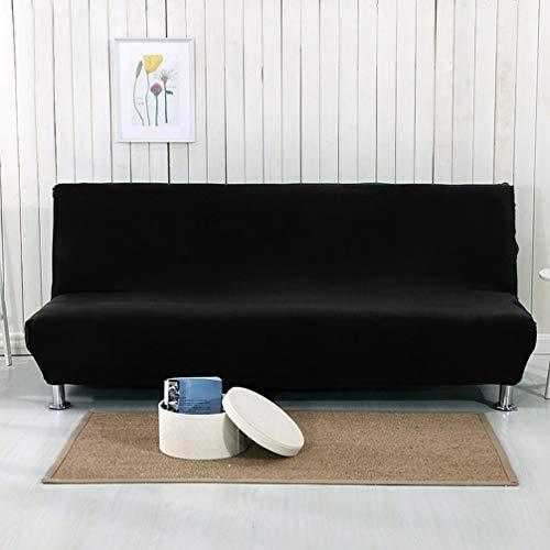 Xpnit Stretch-Sofabezug ohne Armlehnen, Sofabezug für faltbares Sofa, Bett, waschbar, Sitzschutz, Anti-Rutsch-Möbelschutz (schwarz, 155–185 cm)