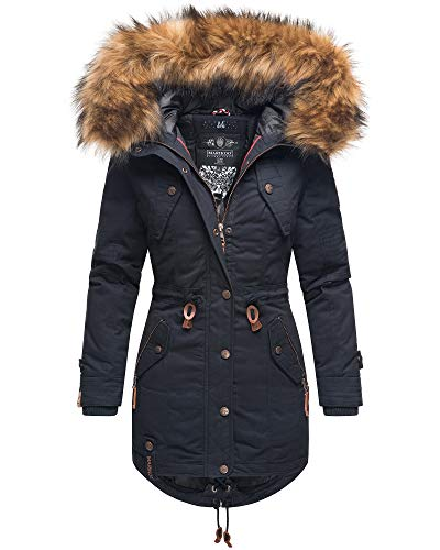 Marikoo Damen Winter Jacke Baumwoll Parka Teddyfell Mantel Laviva PRZ (XL, Navy)