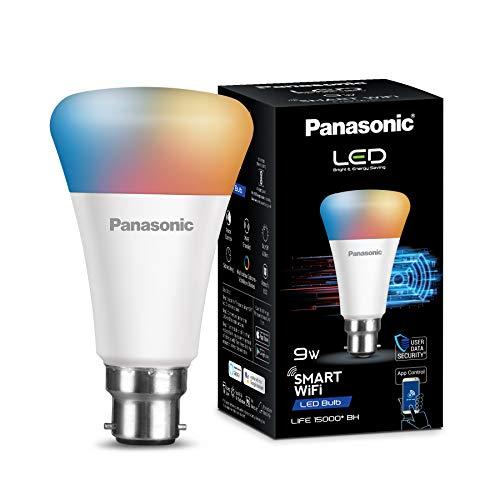 Panasonic WiFi Enabled Smart LED Bulb B22 9-Watt (16 Million Colors) (Compatible with Amazon Alexa and Google Assistant), Pack of 1, RGB (PBUM27090)