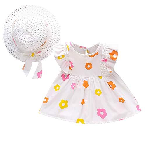 Keepwin Ropa Bebe Niña Verano, Vestidos Niñas Fiesta Playa Bohemia Conjuntos de Dos Piezas Estampado de Floral Plisado Disfraz Princesa Niña Sin Mangas + Sombrero de Paja para Recién Nacido