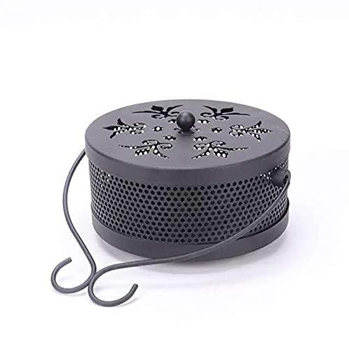 Hierro forjado creativo Mosquito Tank Box Portable Mosquito Coil Home Users Fuera Anti-Fire Mosquito Coil Burner-Negro