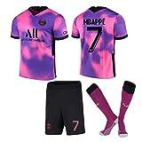 GJMQQ Camiseta de Manga Corta para Hombre 2021 New Paris Three Away Camiseta Rosa Violeta Camiseta de fútbol No. 10 Neymar No. 7 Mbappé Camiseta para niños