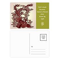 中国の不死鳥の動物の肖像画 詩のポストカードセットサンクスカード郵送側20個