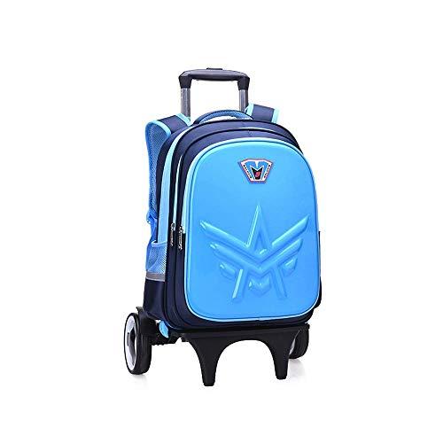 MxZas Trolley travel bag Trolley Schoolbag Boys Girls Waterproof Burden-reducing Backpack Children Climb Stairs Trolley Bag Hard Shell Effortless School Bags Durable Mold Wheels Jzx-n