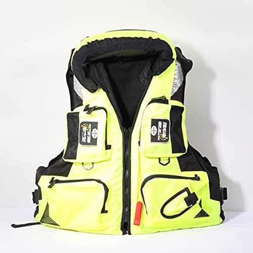 MINGJ Hombres Mujeres Pesca Chaleco Salvavidas Deportes Acuáticos Al Aire Libre Chaleco Salvavidas de Seguridad para Barco Traje de Baño de Supervivencia a La Deriva,Yellow-L(60-80kg)