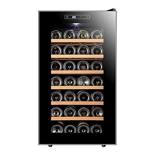 LKNJLL 28 Flaschen Weinkühler Kühlschrank - Wein Kühlschrank Chiller Aufsatz- Weinkühler - Freistehend Compact Mini Wein Kühlschrank 28 Flaschen W/Digital Control, Glastür