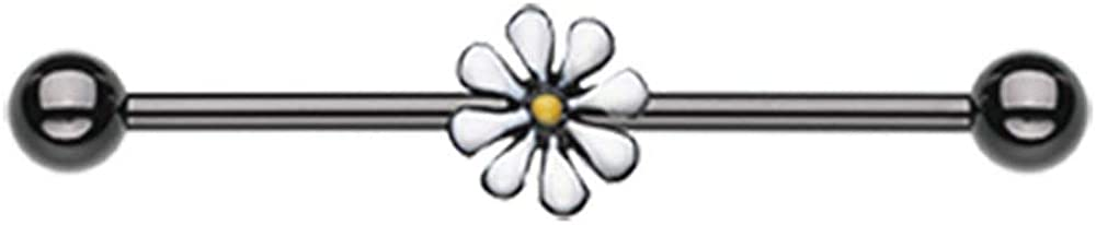 Covet Jewelry Blackline Daisy Industrial Barbell