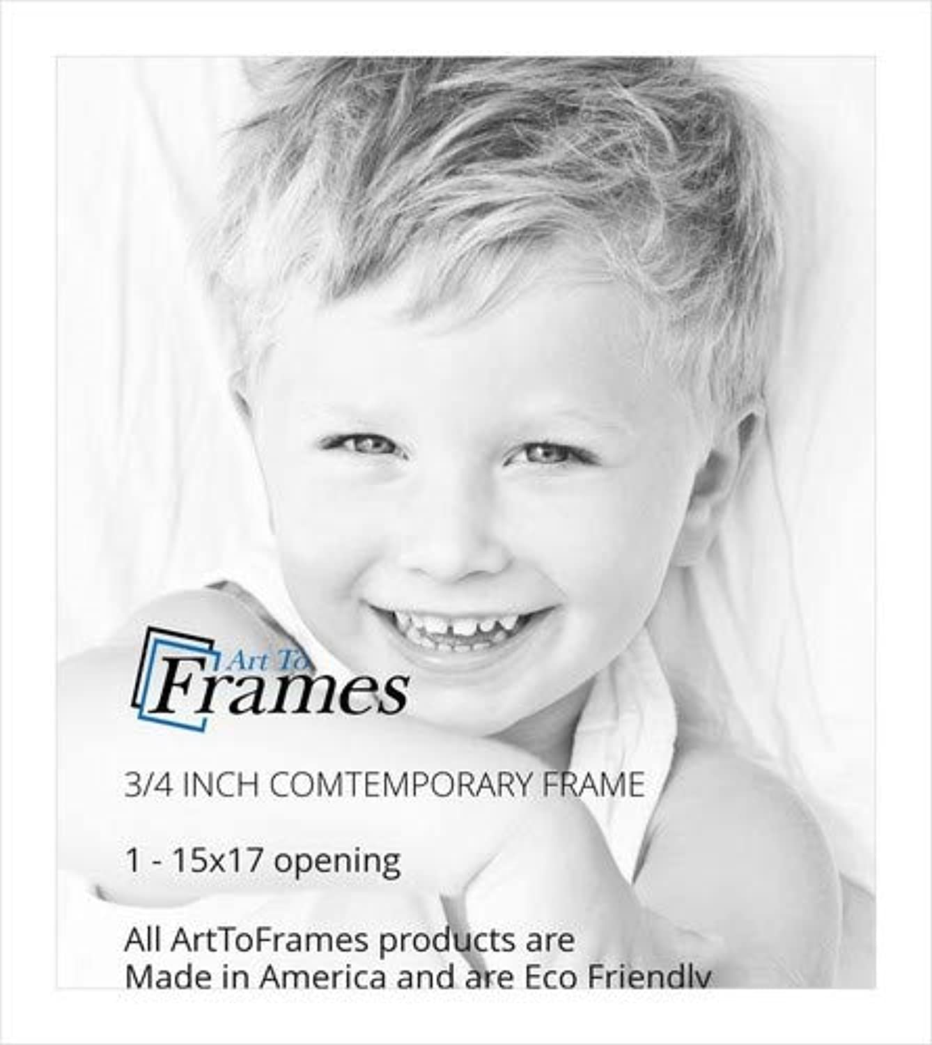 ArtToFrames 15x17 inch Comtemporary White Wood Picture Frame, 2WOMD899015x17