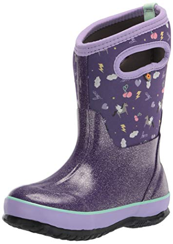 Bogs Classic High Waterproof Insulated Rubber Neoprene Rain Boot, Pegasus-Purple, 1 US Unisex Little Kid